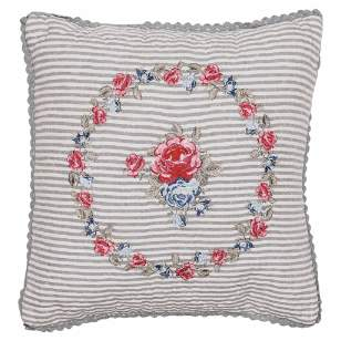 GreenGate Green Gate - White Hailey With Embroidery Quilted Pillow Cover - Grey/Red/Blue