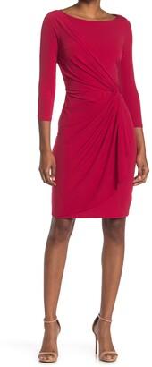 Catherine Malandrino 3/4 Sleeve Draped Front Sheath Dress