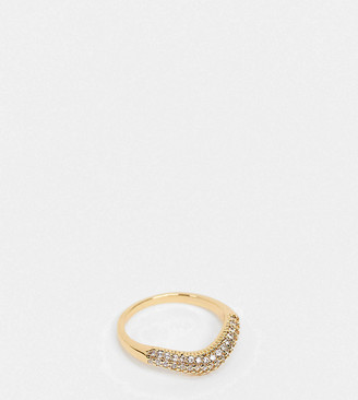 Reclaimed Vintage inspired premium 14k mix and match CZ stacking ring in gold