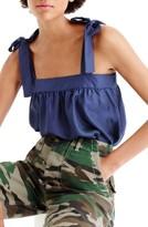 J.Crew Women's Polka Dot Silk Tie Shoulder Top