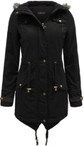 Thumbnail for your product : Brave Soul Allure Ladies Faux Fur Parka Coat - Black-X-Small
