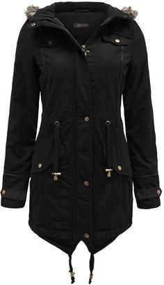 Brave Soul Allure Ladies Faux Fur Parka Coat - Black-Small
