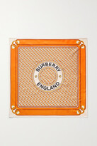 Thumbnail for your product : Burberry Printed Silk-twill Scarf - Orange