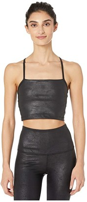 Beyond Yoga Lux Leatherette Cropped Tank (Black/Matte Black Foil) Women's Clothing