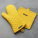 Crate & Barrel Yellow Oven Mitt and Pot Holder