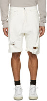 R 13 White Denim Ian Shorts