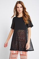 BCBGeneration Short-Sleeve Tunic Overlay Top - Black