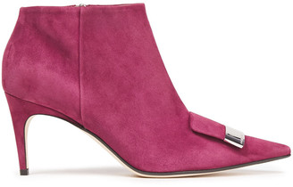 Sergio Rossi Embellished Suede Ankle Boots