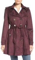 Jessica Simpson Faux Suede Belted Trench