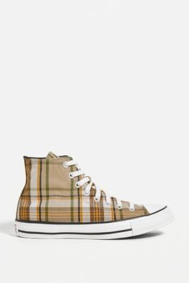 Converse Chuck Taylor All Star Check High-Top Trainers - Green UK 3 at Urban Outfitters