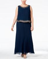 J Kara Plus Size Embellished Popover Gown