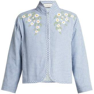 Innika Choo Gingham Cotton Summer Jacket - Womens - Blue White