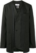 Facetasm asymmetric kimono jacket - men - Polyester/Cupro/Wool - 4