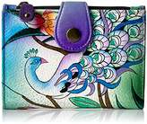 Anuschka Anna By Handpainted Leather Ladies Wallet, Midnight Peacock Wallet
