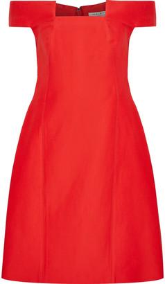 Halston Off-the-shoulder Cotton And Silk-blend Dress