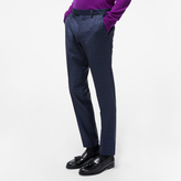 Paul Smith Men's Slim-Fit Navy Mini-Check Wool Trousers