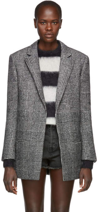 Saint Laurent Black and White Wool Houndstooth Blazer