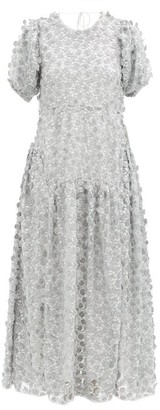 Cecilie Bahnsen Liza Open-back Floral-embroidered Tulle Dress - Silver