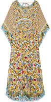 Dolce & Gabbana Printed Silk-georgette Kaftan - Yellow