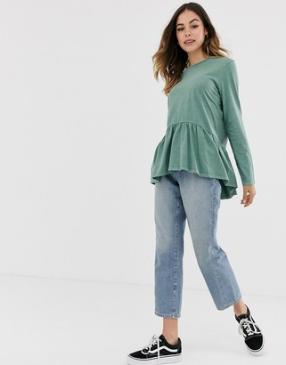 Asos DESIGN smock top with long sleeve in wash
