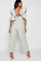 boohoo Sarah Statement Ruffle Cross Back Jumpsuit