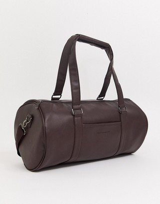 French Connection faux leather barrel holdall-Brown