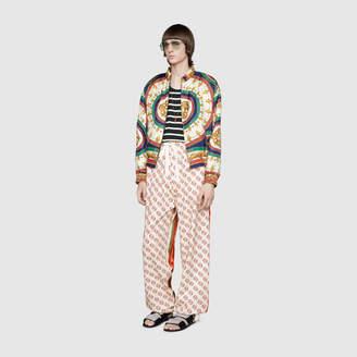 Gucci Printed silk bomber jacket
