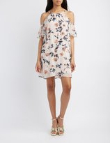 Charlotte Russe Floral Cold Shoulder Shift Dress