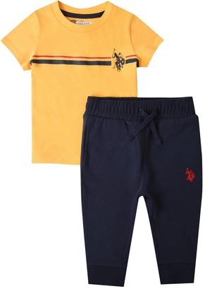 U.S. Polo Assn. Toddler Boys 2 Piece Chest Striped Short Sleeve T-Shirt and Jog Set - Yellow/Navy