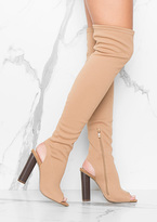 Missy Empire Deana Nude Cut Out Over Knee Boots
