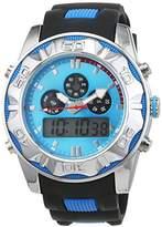 Trias Men's Quartz Watch with Black Dial Analogue Display Quartz Rubber AND005 Blue