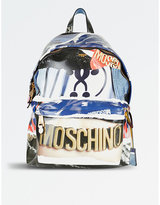 Moschino Archive-print patent backpack