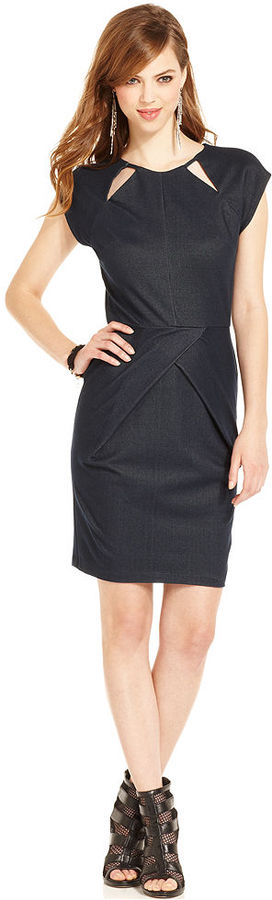 Bar III Front Row Dress, Cap-Sleeve Denim Cutout Sheath