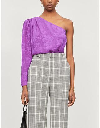 Stella McCartney One-sleeved floral-print silk top