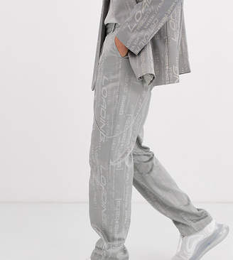 Collusion COLLUSION jacquard straight leg trousers with belt chain-Grey