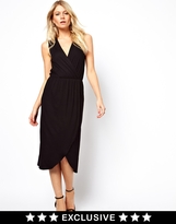 Midi Dress With Wrap Front