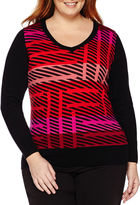 WORTHINGTON Worthington Long Sleeve V-Neck Pullover Sweater - Plus