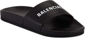 Balenciaga Logo Leather Pool Slides, Black