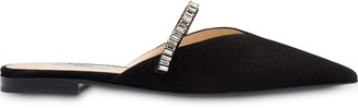 Prada Flat suede mules with crystals