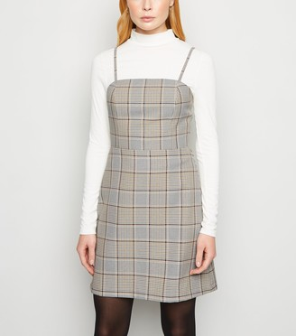 New Look Check Strappy Pinafore Dress