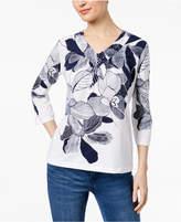 Alfred Dunner Montego Bay Embellished Floral-Print Top
