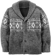 Carter's Toddler Boy Gray Fairisle Wool Cardigan