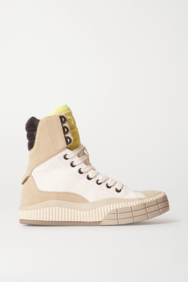 Chloé Clint Suede, Leather And Rubber-trimmed Canvas High-top Sneakers - White