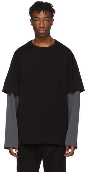 a61da5d98 SSENSE Exclusive Black and Grey Layered Long Sleeve T-Shirt
