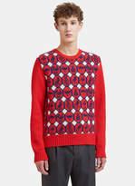 Gucci Jacquard Animalium Knit Sweater In Red