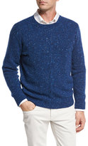 Loro Piana Girocollo Cashmere Tweed Cable Sweater, Blue Depths