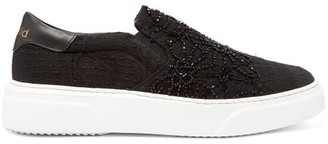 By Walid Beaded 19th-century Textile Slip-on Trainers - Black