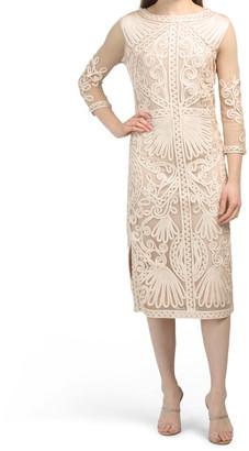 Soutache Embroidered Midi Dress