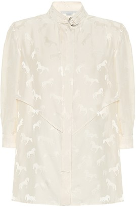 Stella McCartney Horse-jacquard silk-blend blouse