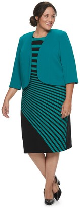Maya Brooke Plus Size Jacket & Asymmetrical Stripe Dress Set